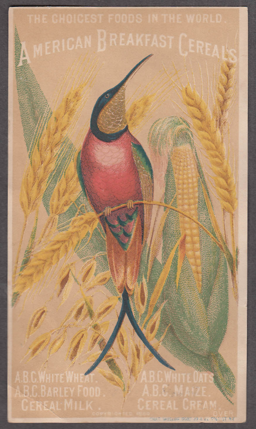 American Breakfast Cereals trade card 1880s scissor-tail hummingbird