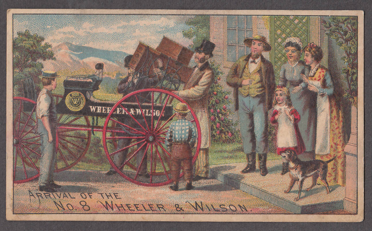 Arrival of the Wheeler & Wilson #8 Sewing Machine trade card 1880s wagon
