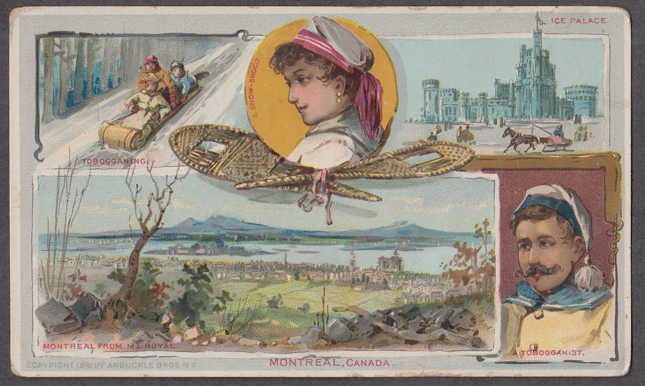 Arbuckle Ariosa Coffee trade card 1880s Montreal PQ snowshoe toboggan ice palace