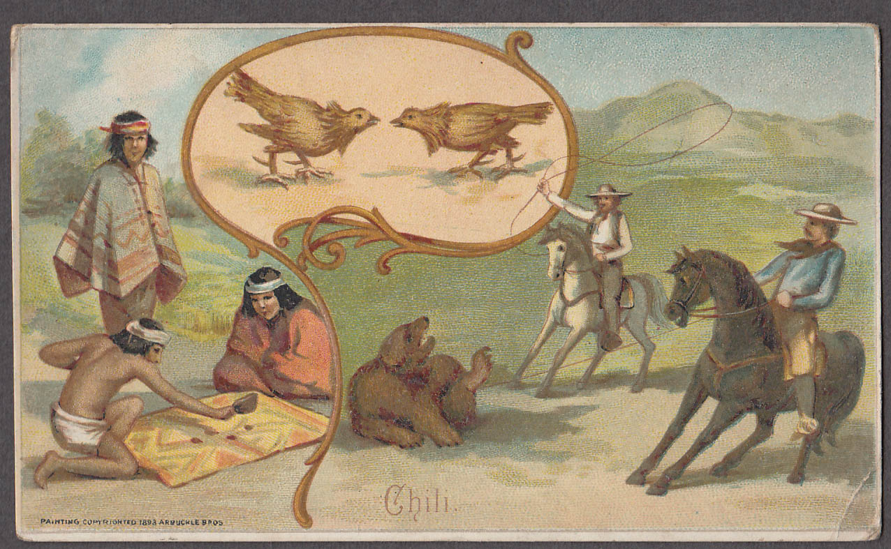 Arbuckle Ariosa Coffee trade card 1893 Chile cock fight bear baiting board game