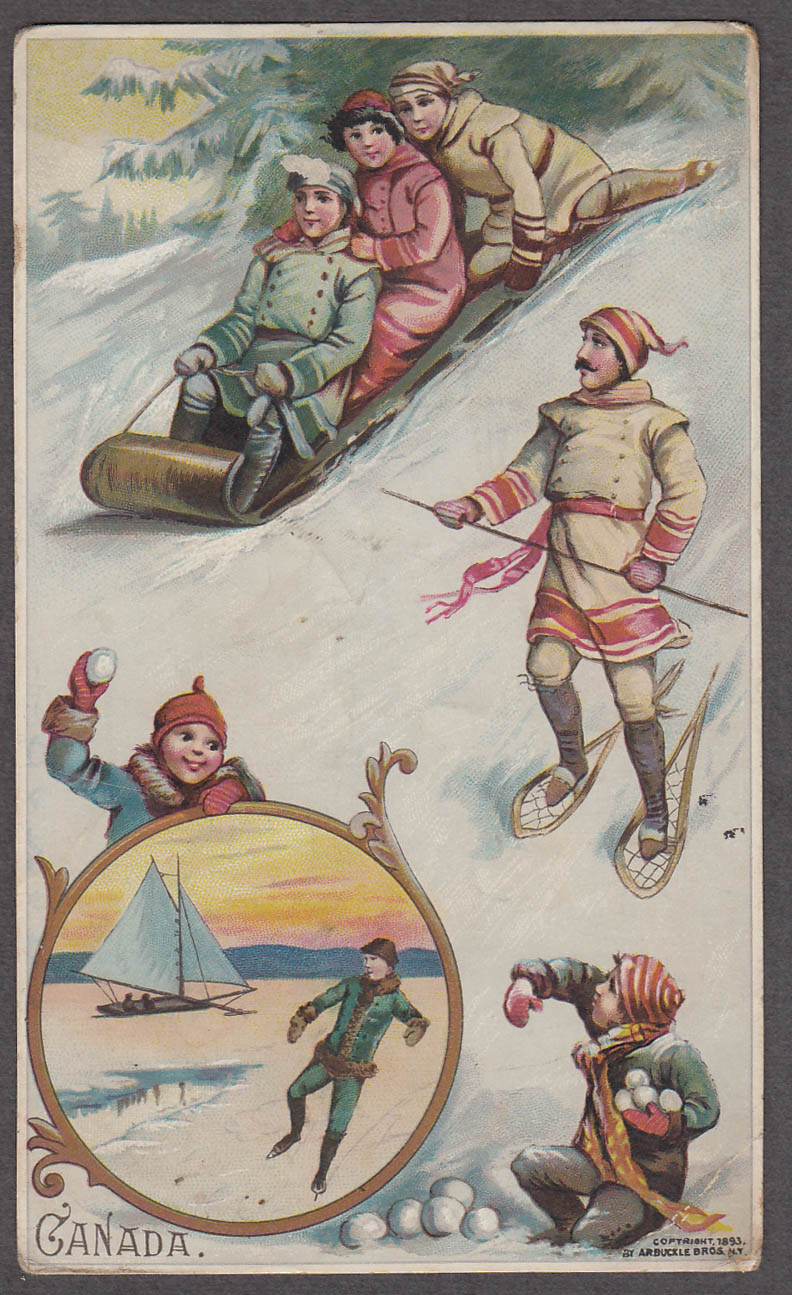 Arbuckle Ariosa Coffee card 1893 Canada snowball iceboat toboggan snowshoes