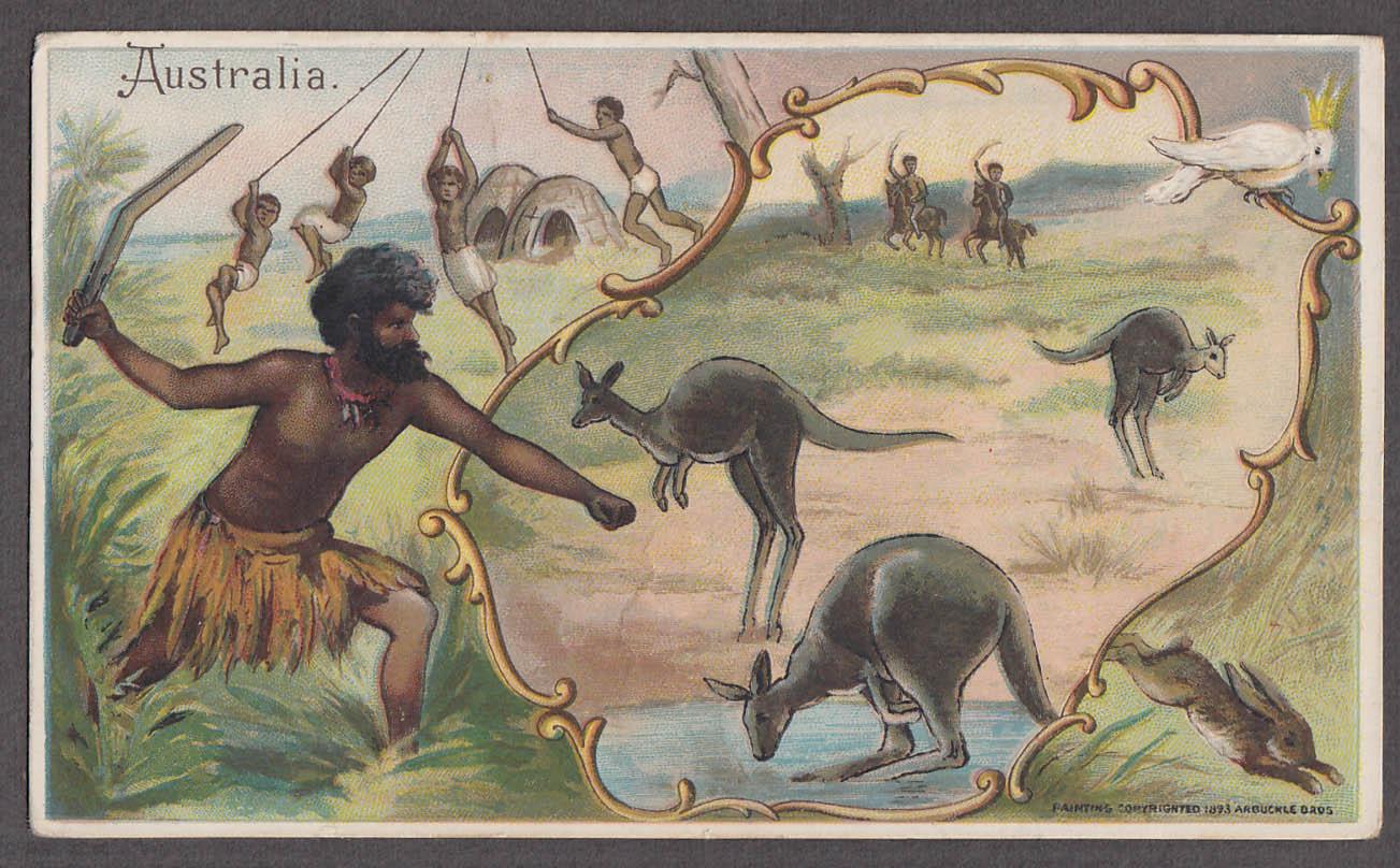 Arbuckle Ariosa Coffee trade card 1893 Australia boomerang kangaroo rope swing