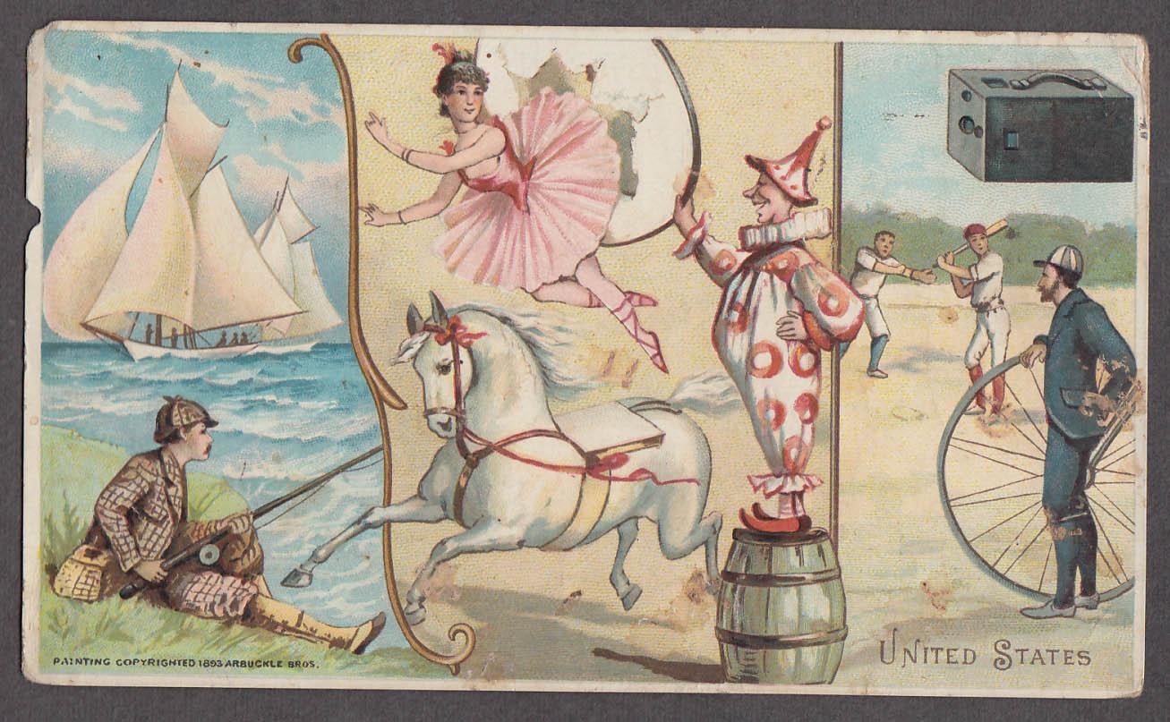 Arbuckle Ariosa Coffee trade card 1893 USA circus baseball bicycling fishing