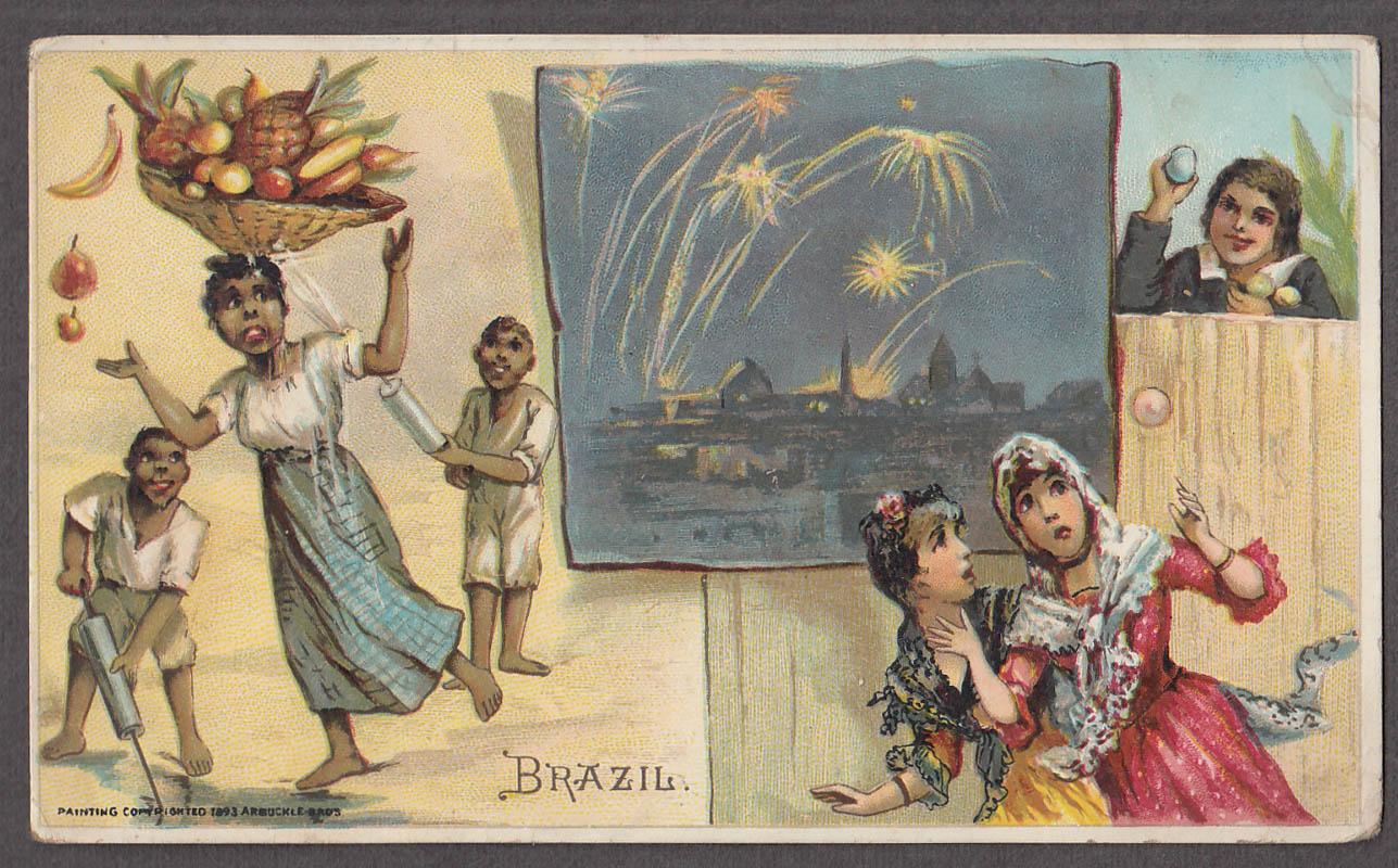 Arbuckle Ariosa Coffee trade card 1893 Brazil fireworks egging watergun fun
