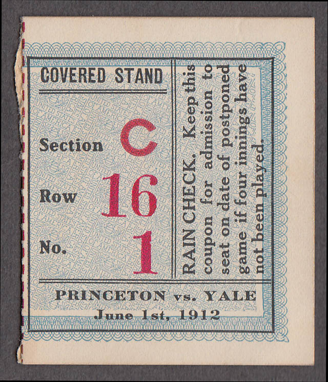 Princeton-Yale College Baseball Ticket Stub 1912 Covered Stand