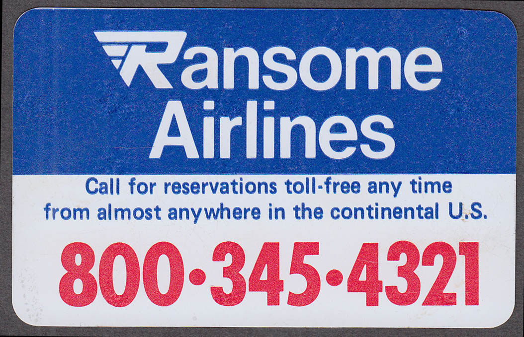 Delta Ransome Airlines plastic reminder reservation card 1980s