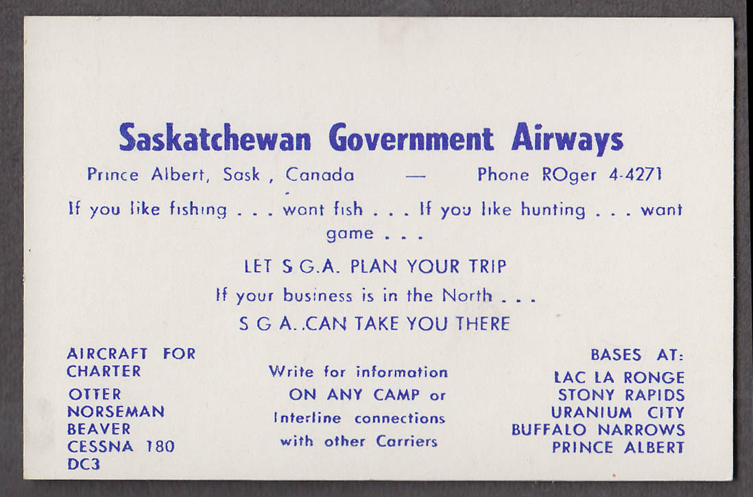 Saskatchewan Government Airways Prince Albert Saskatchewan card 1960s