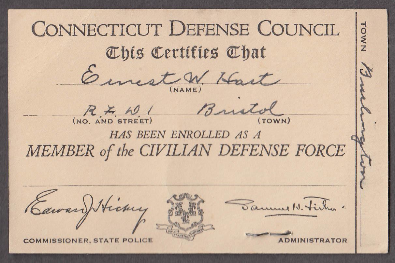 Connecticut Civil Defense Council photo ID card Brostol CT 1940s