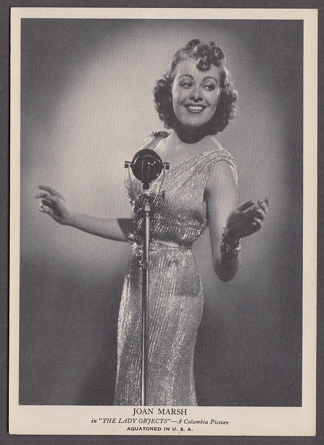 Actress Joan Marsh in The Lady Objects Aquatone Picture print 1938