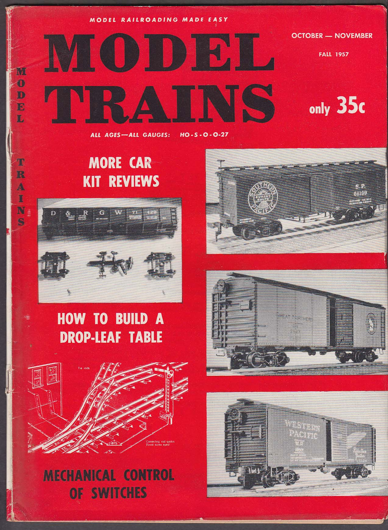 MODEL TRAINS Car Kit Reviews; Drop-Leaf Table; Mechanical Control ++ Fall 1957
