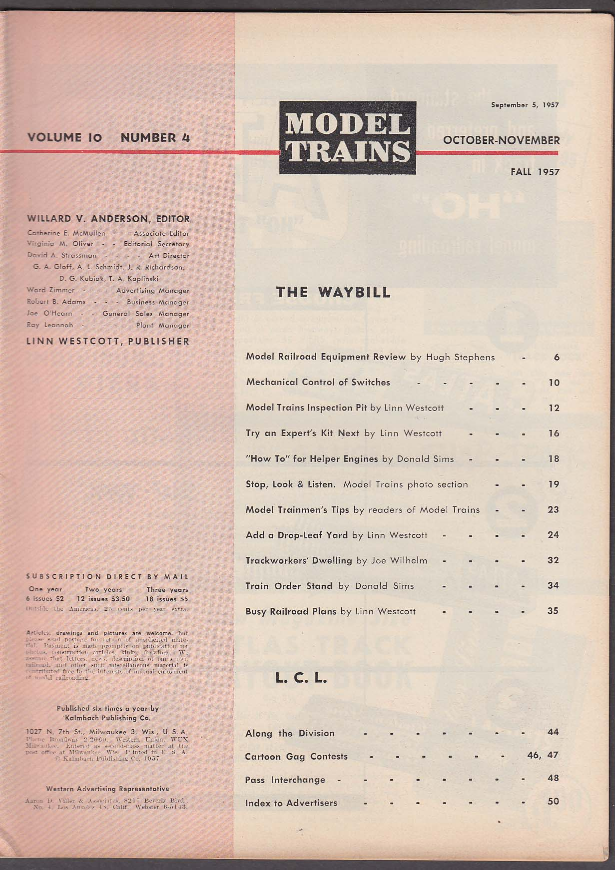 MODEL TRAINS Car Kit Reviews; Drop-Leaf Table; Mechanical Control ++ Fall 1957
