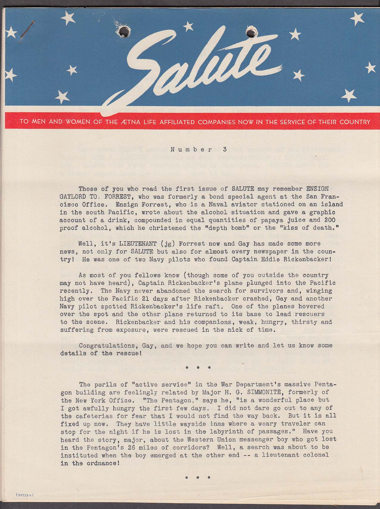 Aetna Life SALUTE #3 Men & Women in Service newsletter 1940s