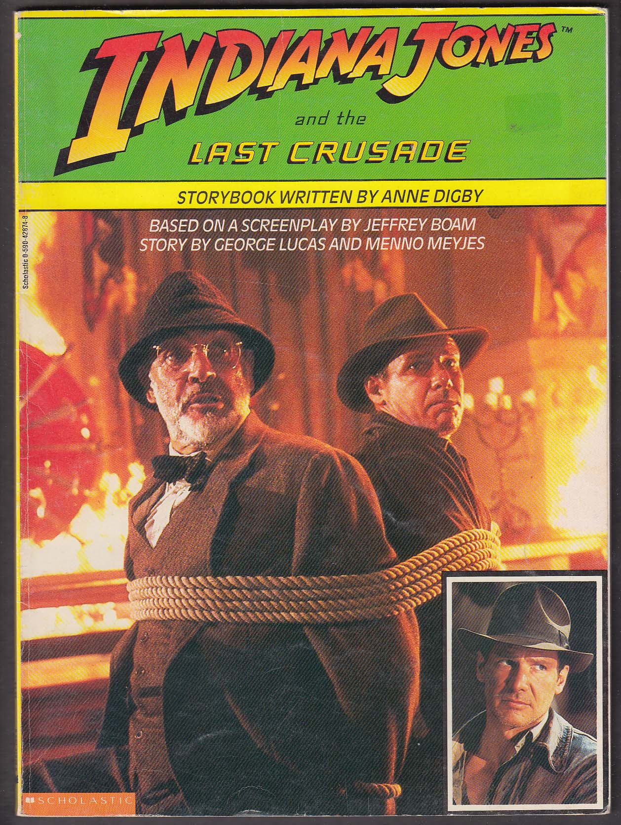 Anne Digby: Indiana Jones & Last Crusade storybook pb 1st ed 1989 Ford Connery