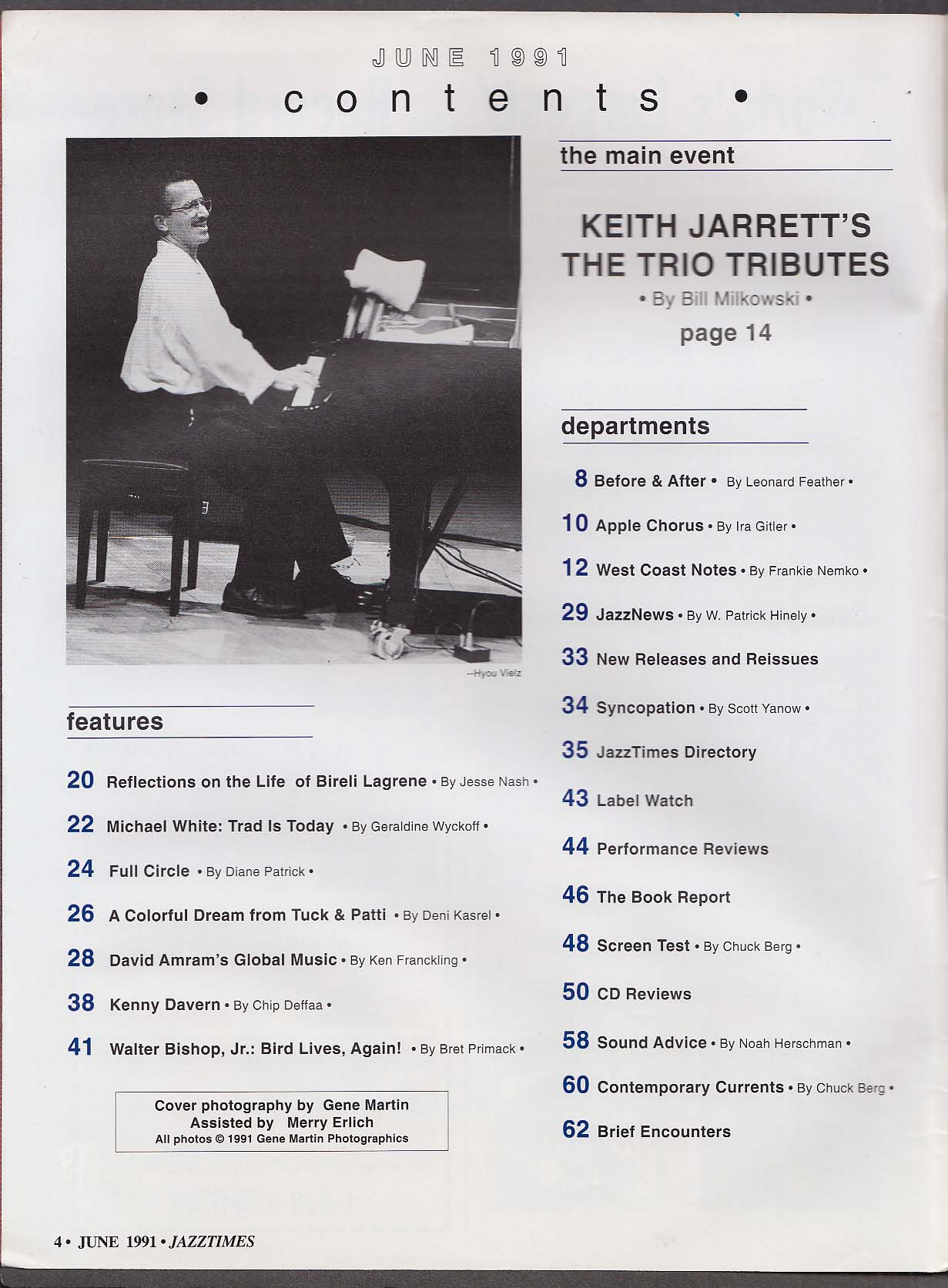 JAZZTIMES Keith Jarrett Bireli Lagrene Walter Bishop Jr Tuck & Patti ++ 6 1991