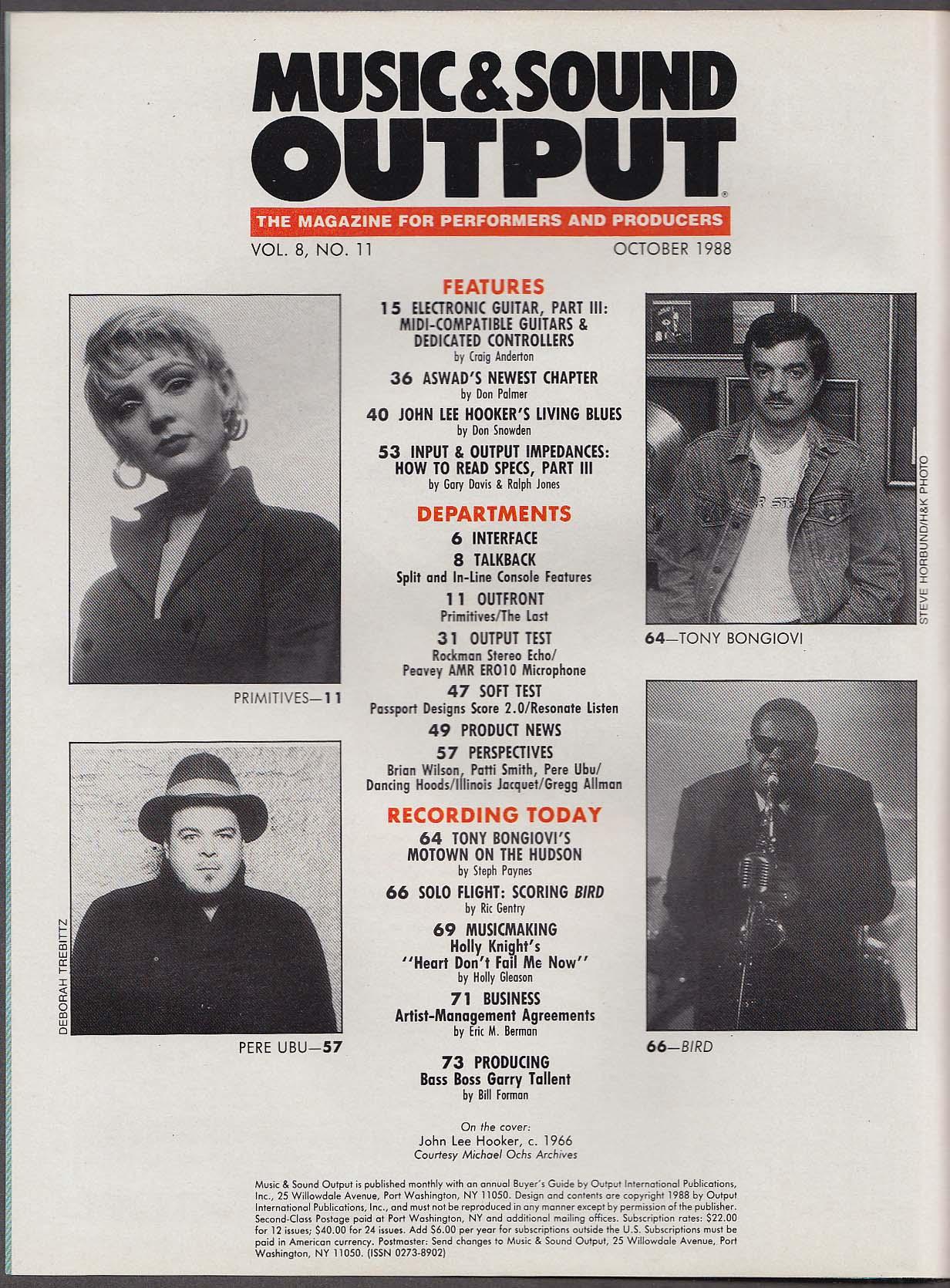 MUSIC & SOUND OUTPUT John Lee Hooker Tony Bongiovi Bird Primitives ++ 10 1988