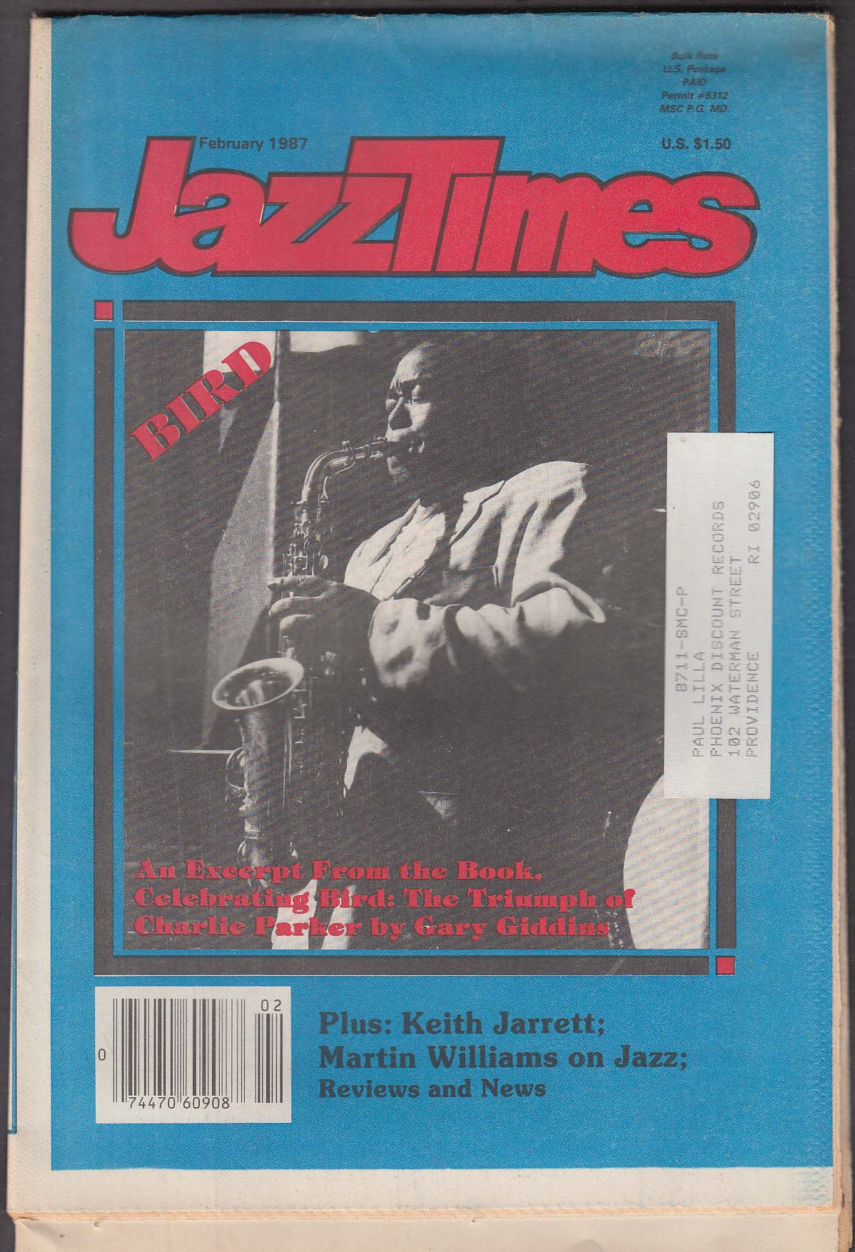 JAZZTIMES Charlie Parker Keith Jarrett Martin Williams ++ 2 1987