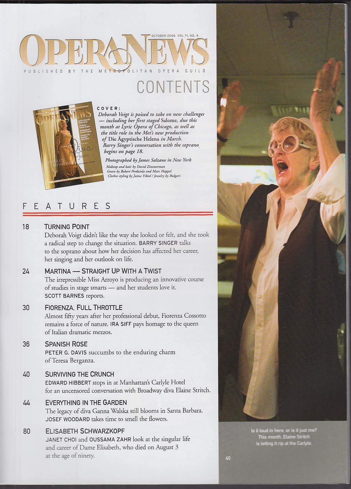 OPERA NEWS Deborah Voigt Martina Arroyo Fiorenaz Cossotto Elaine Stritch 10 2006