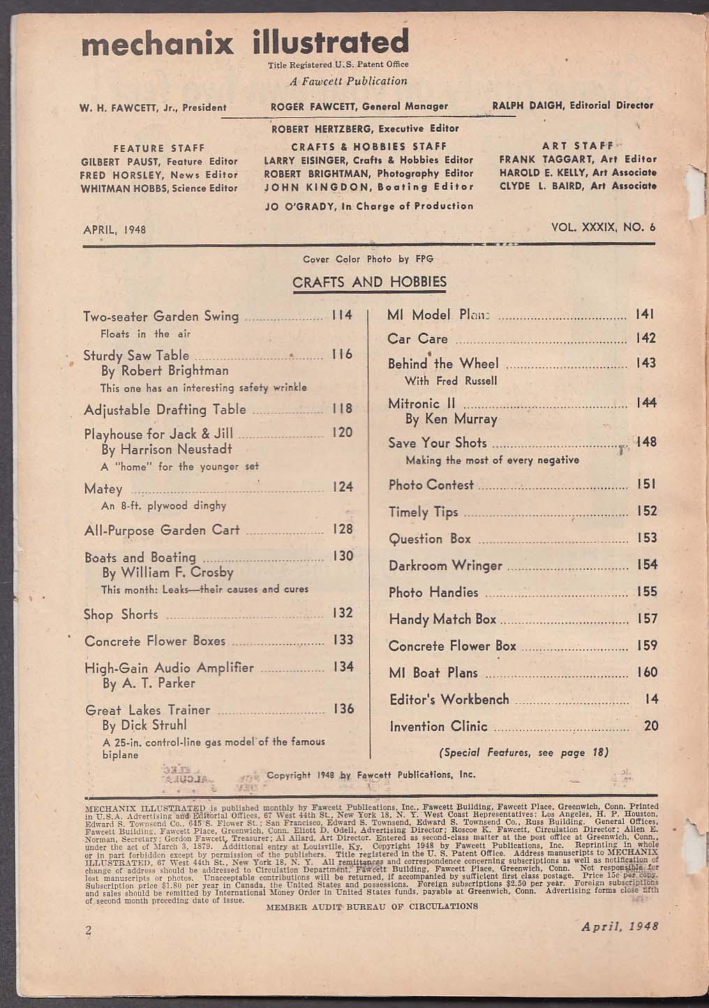MECHANIX ILLUSTRATED Keller Car test High-Gain Audio Amplifier Willy Ley 4 1948