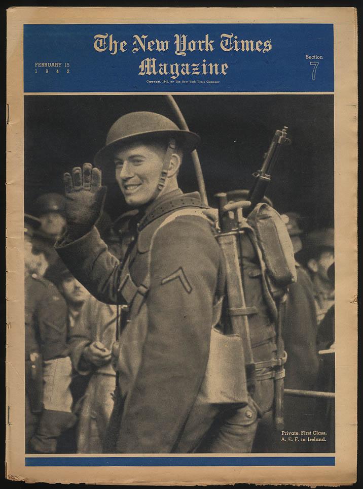 NY TIMES MAGAZINE 215 1942 AEF Ireland Chorus Girls; S S Normandie; Plane makers