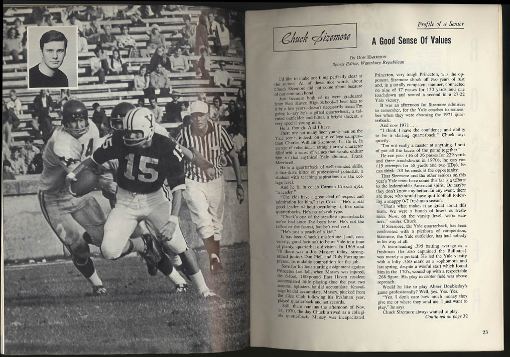 Image for University of Connecticut at Yale Football Program 1971