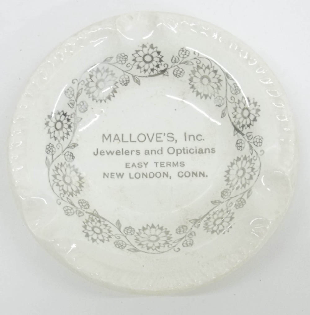 "Mallove's Jewelers & Opticians New London CT ashtray 4 1/2"" diameter"
