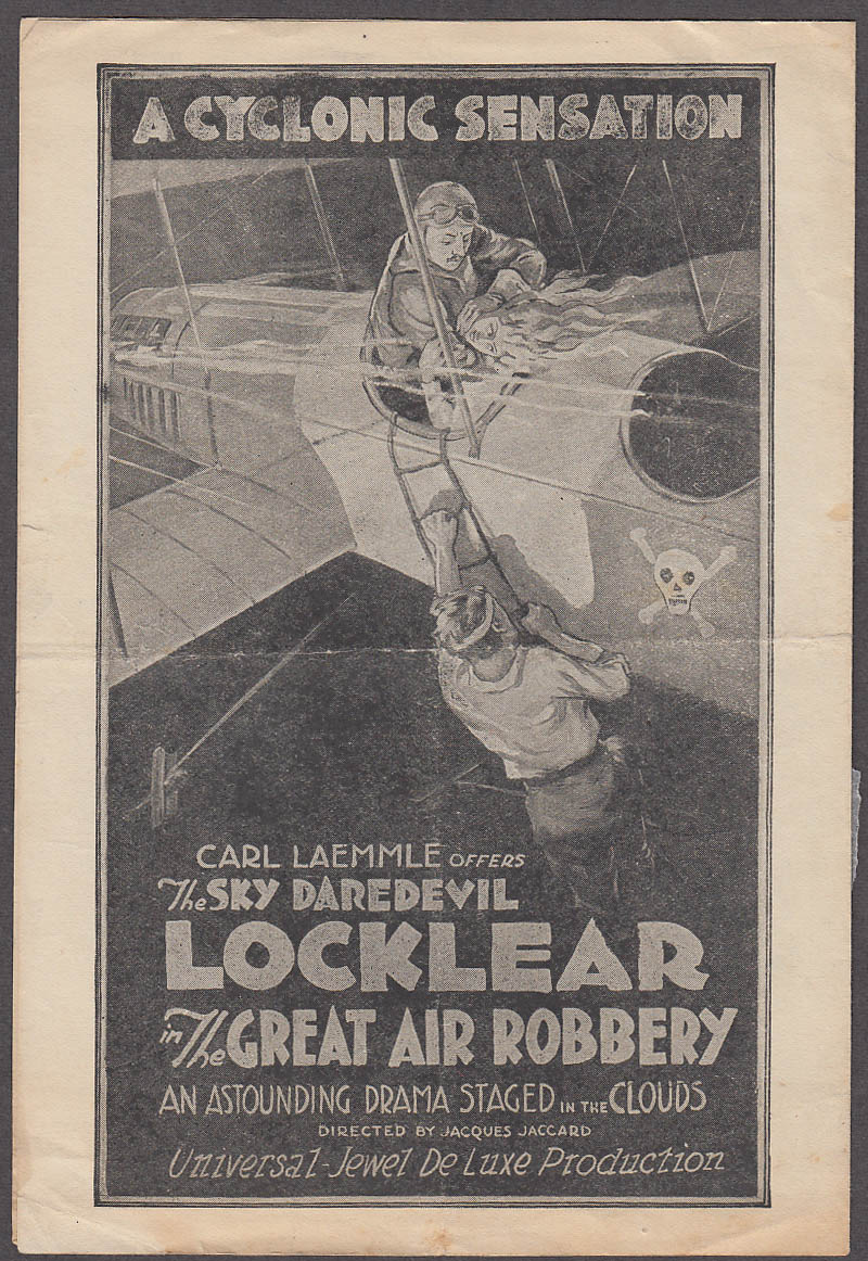 Carl Larmmle's The Great Air Robbery movie folder Sky Daredevil Locklear 1919