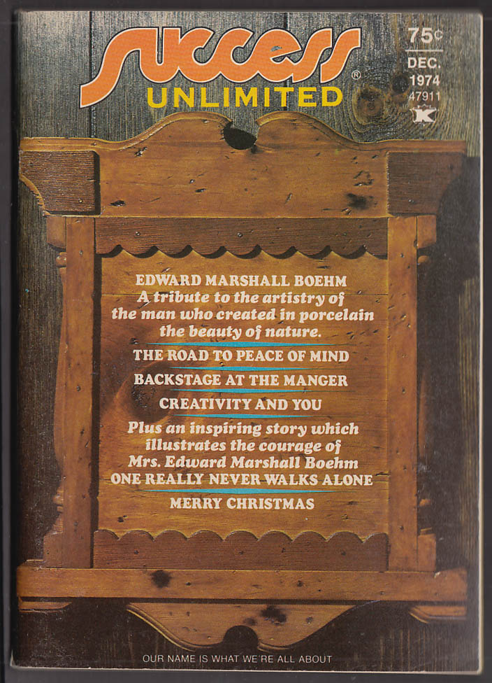 SUCCESS UNLIMITED 12 1974 Edward Marshall Boehm; Paul Harvey