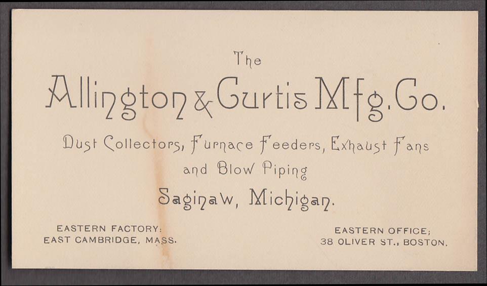 Image for Allington & Curtis Saginaw MI card ca 1900 dust colectors furnace feeders fans