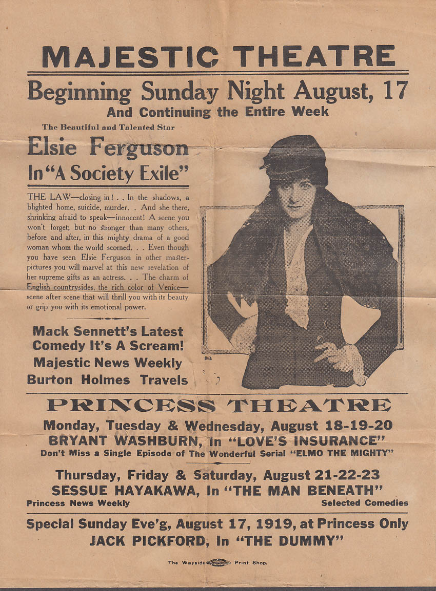Elsie Ferguson A Society Exile movie flyer Majestic Theatre 1919