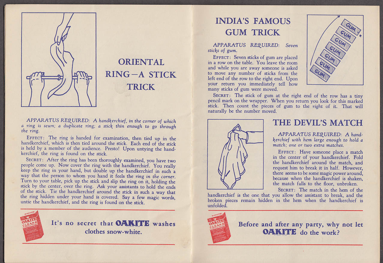 Oakite Cleanser Magic Tricks for Every Member of the Family booklet 1934