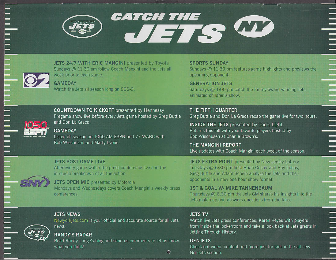 Catch the New York Jets Calendar 2007