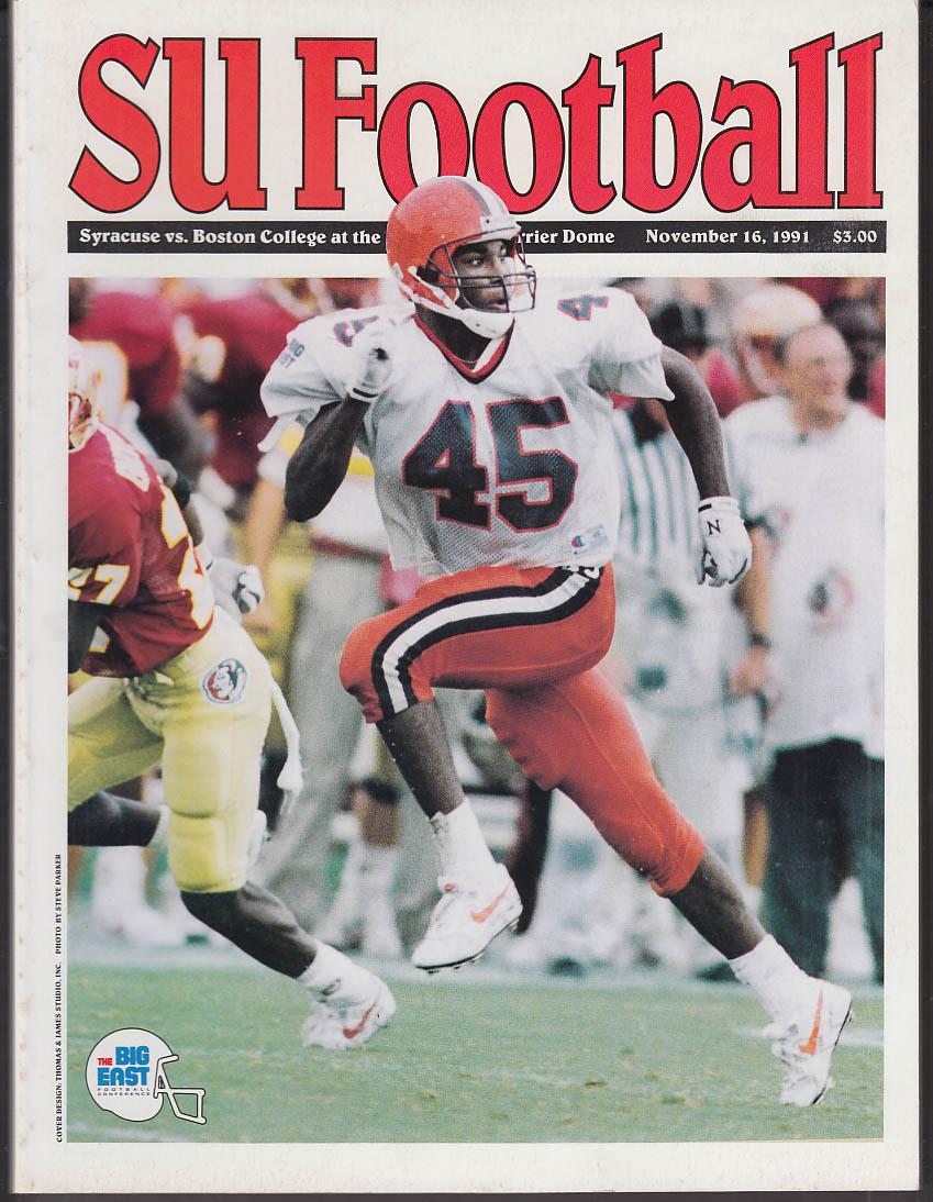 Syracuse University vs Boston College Football Program 11/16 1991