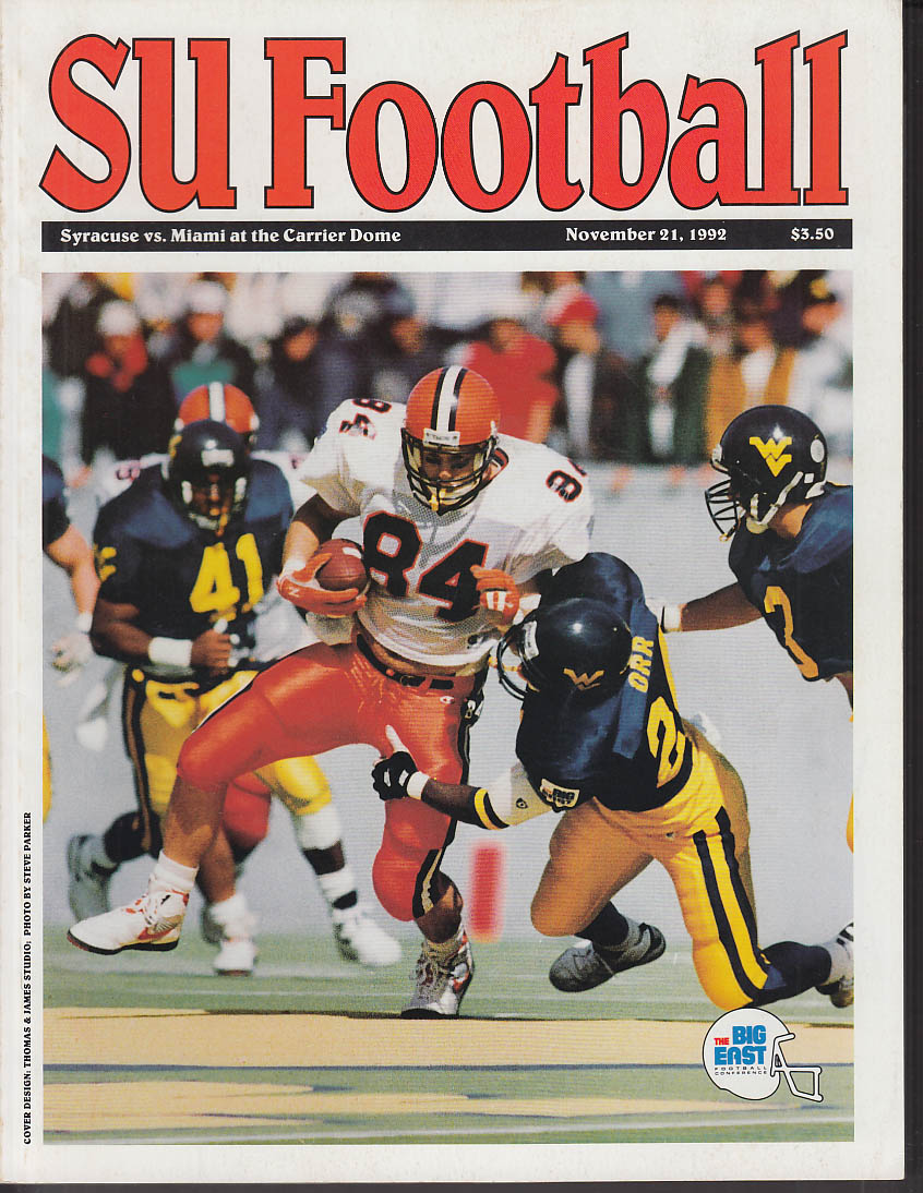 Syracuse University vs Miami University Football Program 11/21 1992
