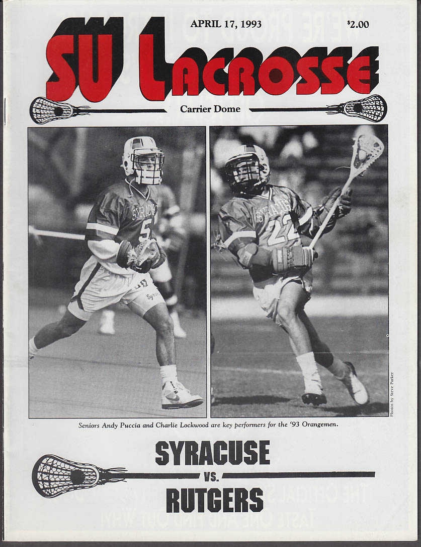 Syracuse University Lacrosse vs Rurgers U Program 4/17 1993