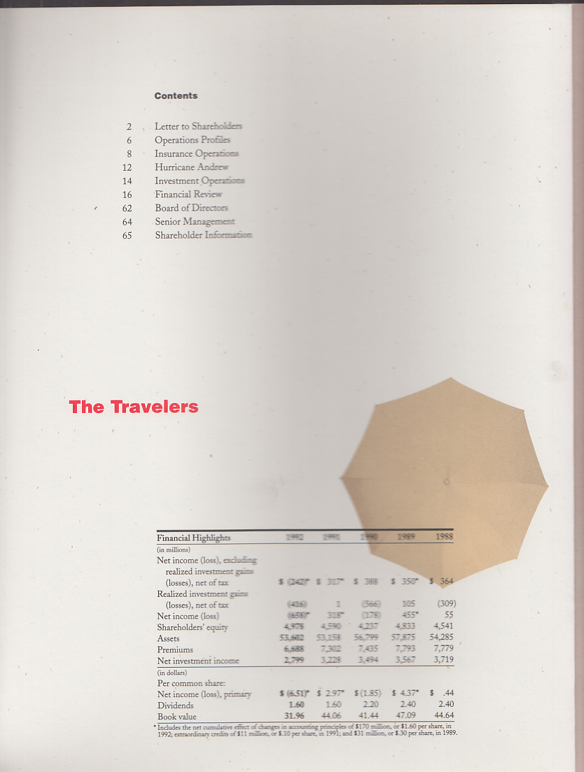 The Travelers Insurance Companies Annual Report 1992