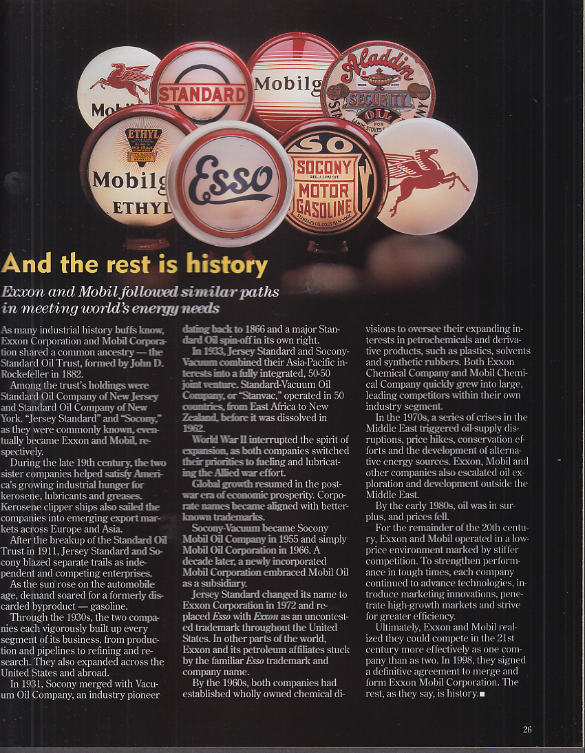 THE LAMP Exxon Mobil Magazine Fall 1999 mergerprofile issue