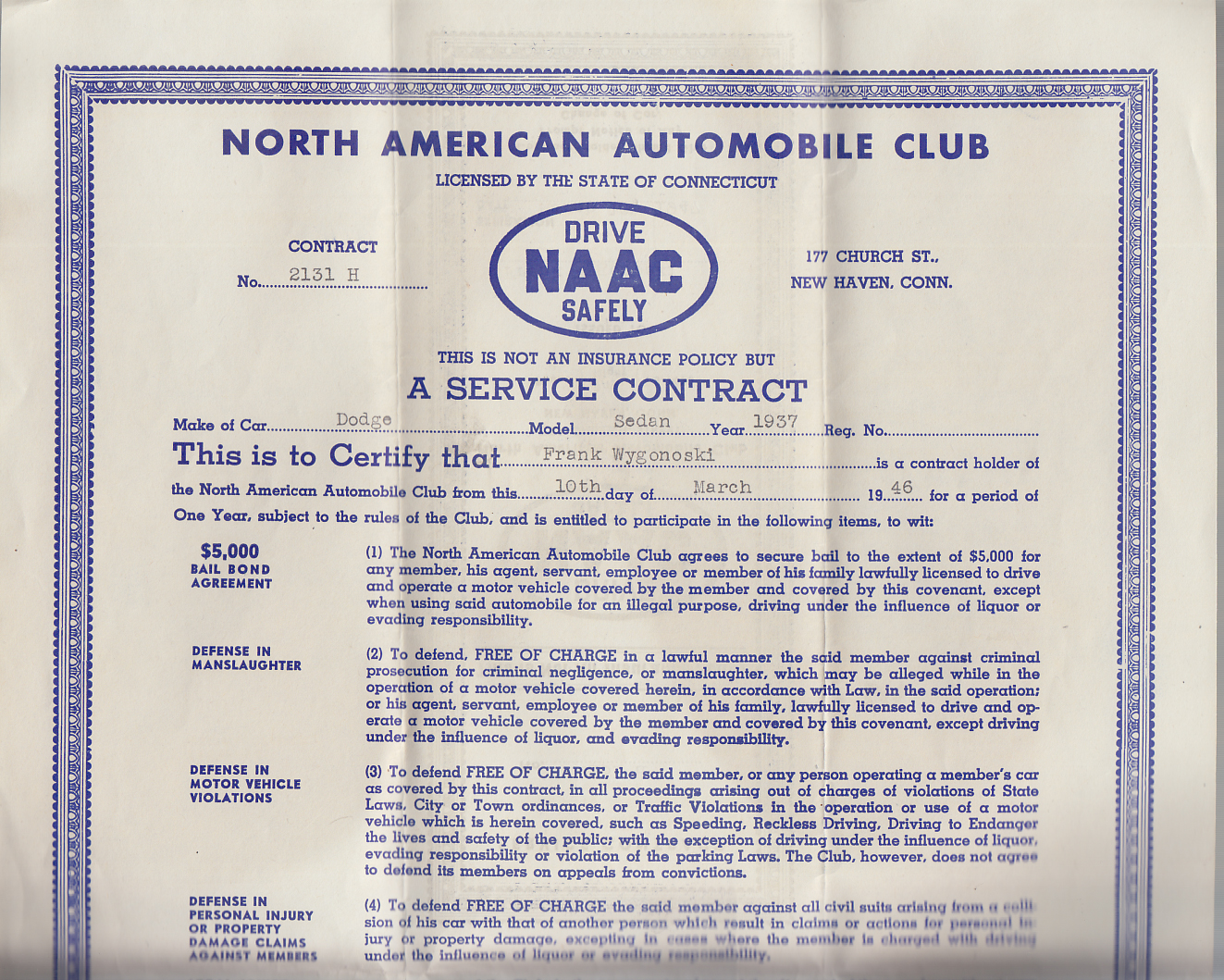 North American Automobile Club NAAC Service Contract 1937 Dodge Sedan