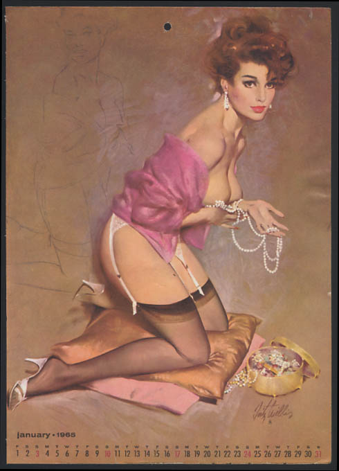 Image for Fritz Willis pin-up calendar sheet redhead garter belt topless pearls 1 1965