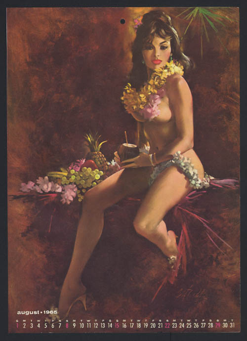 Image for Fritz Willis pin-up calendar sheet Hawaiian leis semi-nude pineapple 8 1965