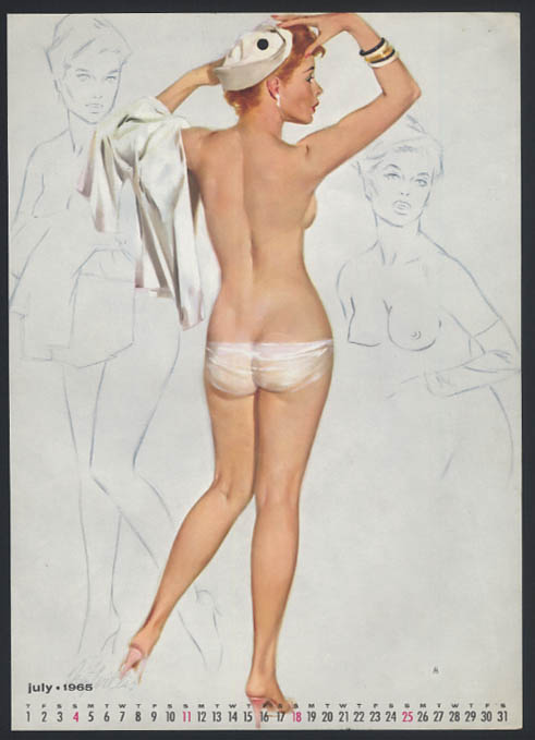 Image for Fritz Willis pin-up calendar sheet topless rear view sailor hat 7 1965