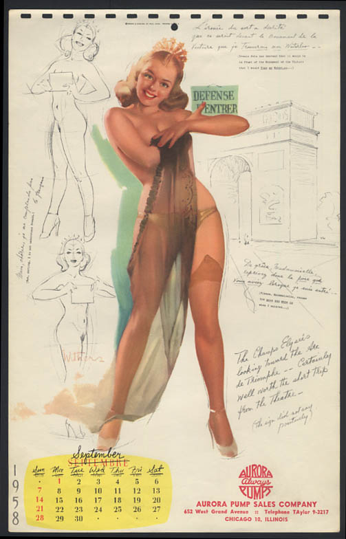 Image for Ted Withers pin-up calendar sheet brunette topless panties stockings 9 1958