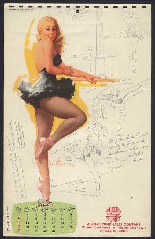 Image for Ted Withers pin-up calendar sheet blonde ballerina at the bar 7 1958