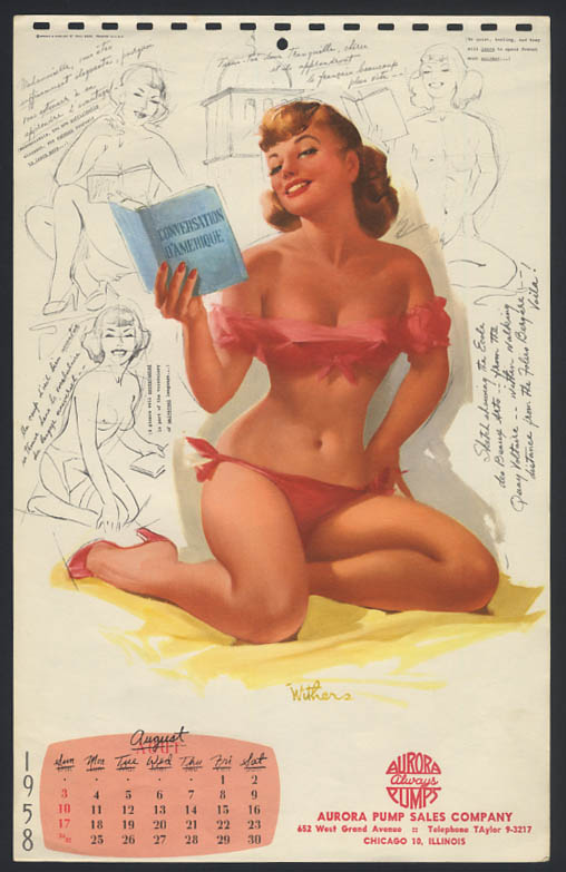 Image for Ted Withers pin-up calendar sheet beach brunette red bikini 8 1958