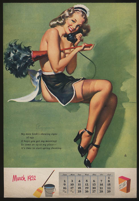 Image for Gil Elvgren pin-up calendar sheet 3 1952 topless blonde maid feather duster