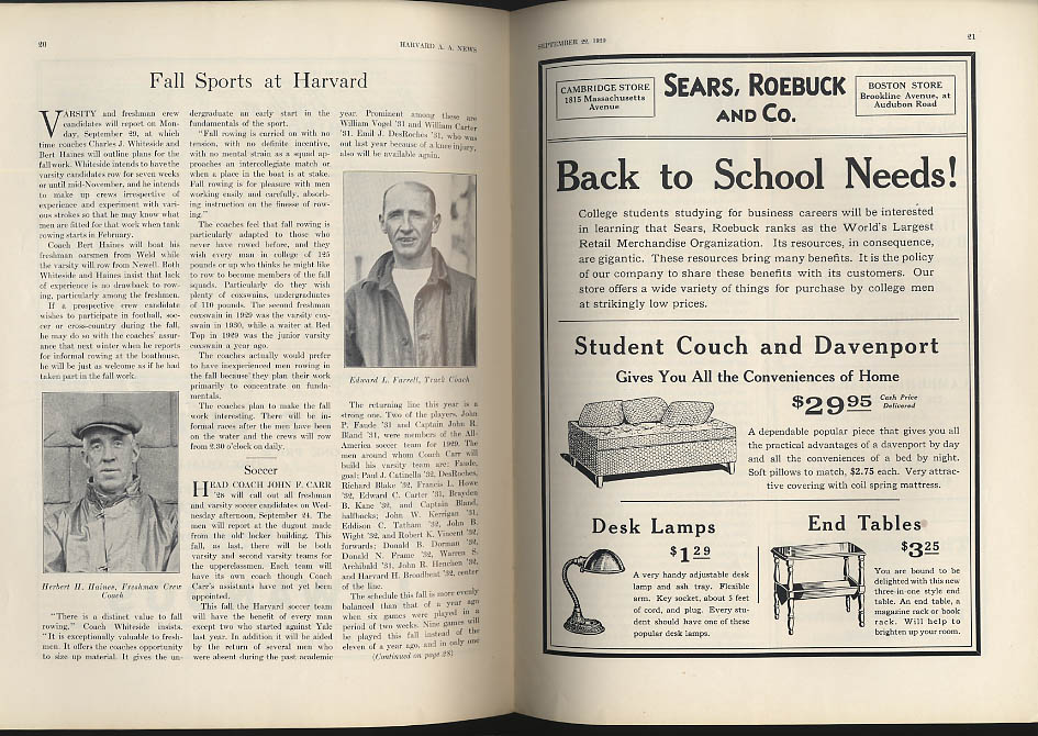 Harvard AA News 9/22 1930 Freshman Number; football; interdorm athletics +