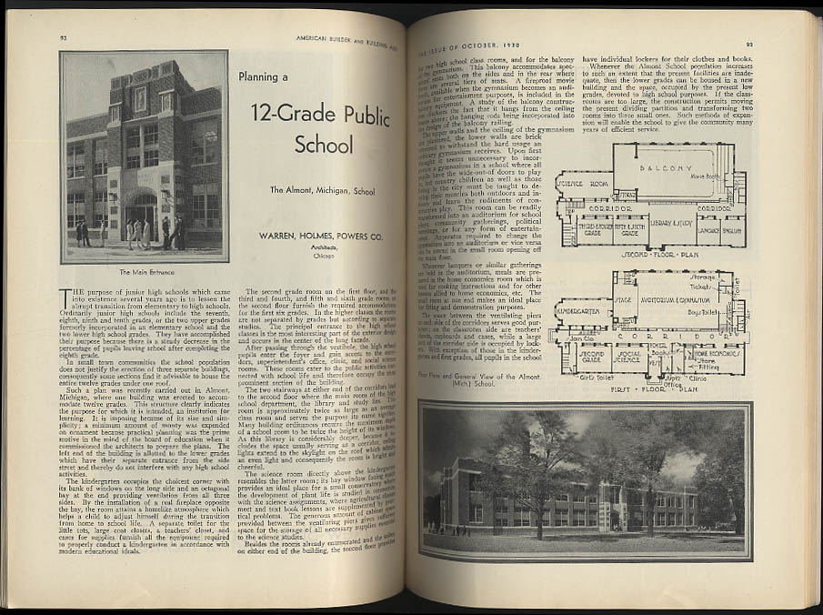 AMERICAN BUILDER & BUILDING AGE 10 1930 Jewel Tea Co; Almont MI School +