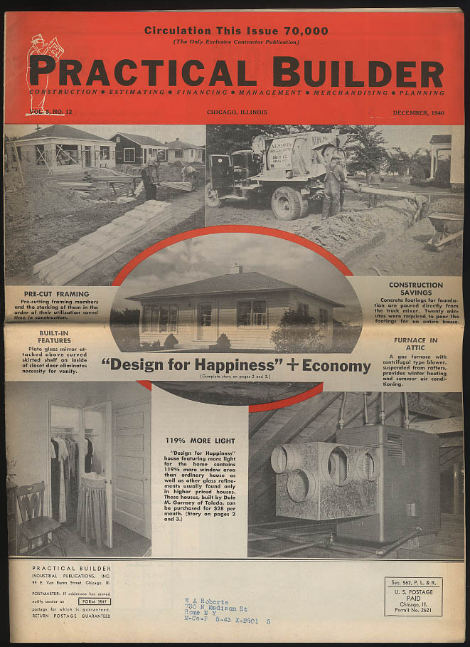 Image for PRACTICAL BUILDER 12 1940 More Light in the House; Moline Defense Housing +