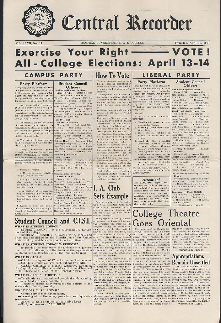 Central Connecticut State College RECORDER 4/13 1961 elections etc