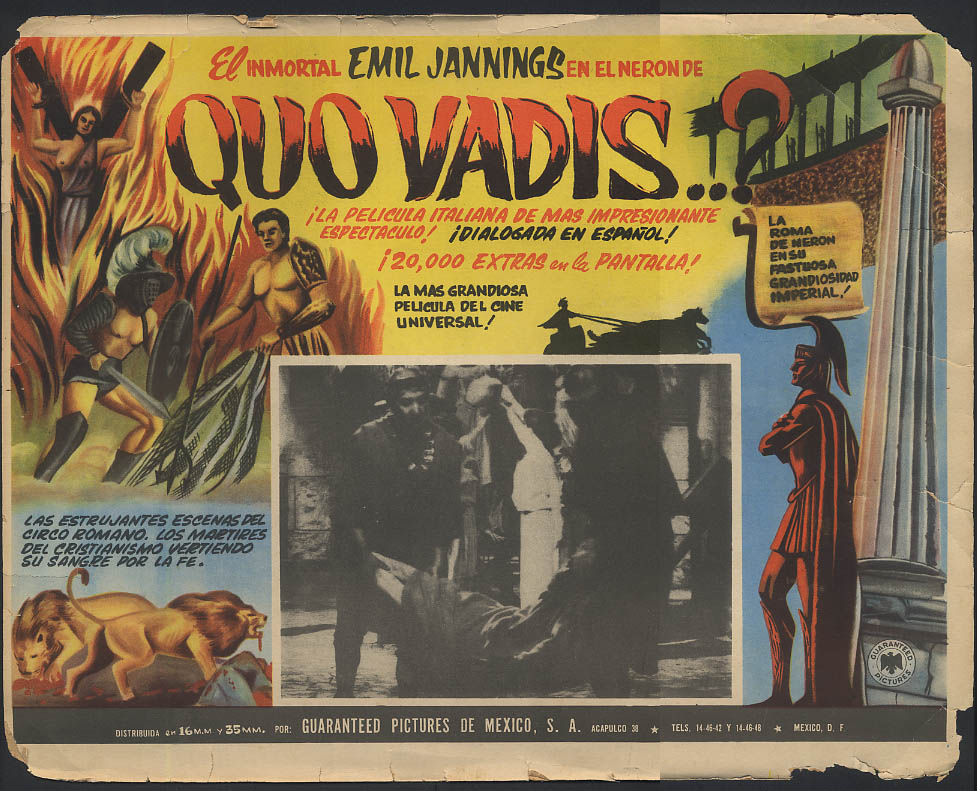Quo Vadis? lobby card Mexico Emil Jannings 1924 1950s?