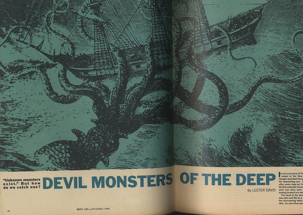 BOYS LIFE 12 1966 Gordie Howe Giant Squid Monsters of the Deep